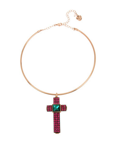 Betsey Johnson Duchess of Betseyville Crystal Cross Pendant Necklace-ASSORTED-One Size