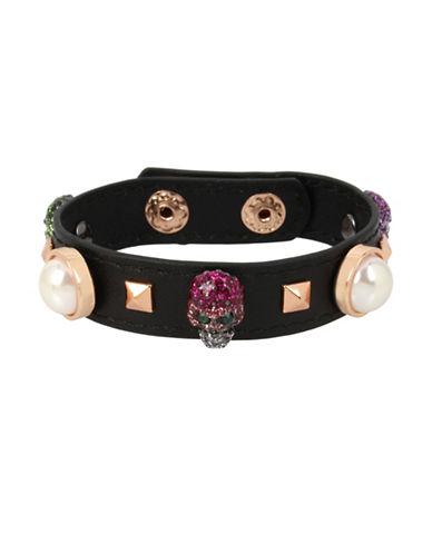 Betsey Johnson Duchess of Betseyville Skull Leather Bracelet-ASSORTED-One Size