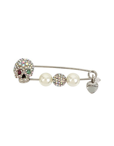 Betsey Johnson Crystal and Faux Pearl Skull Pin-ASSORTED-One Size