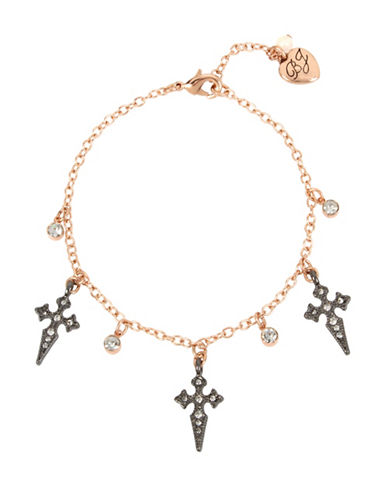 Betsey Johnson Crystal Cross Anklet-MULTI-One Size