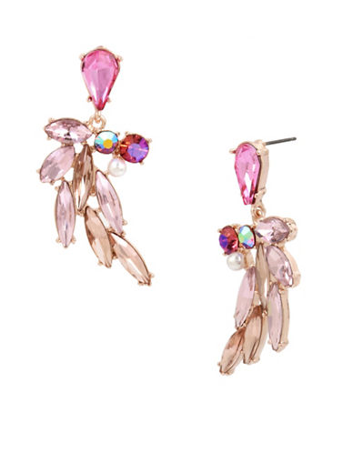 Betsey Johnson Crystal and Pearl Drop Earrings-PINK-One Size