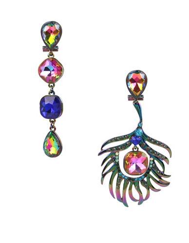 Betsey Johnson Peacock Earings-MULTI-One Size