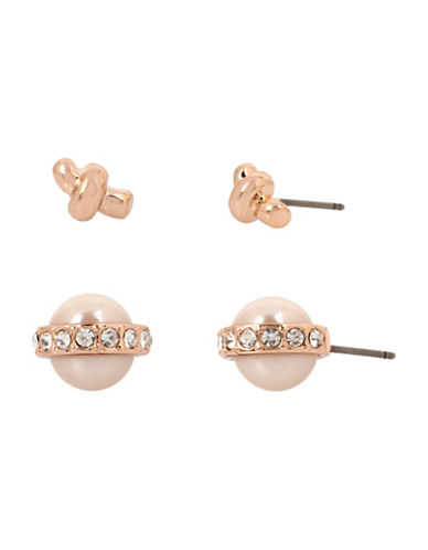 Kenneth Cole New York Two-Pack Faux Pearl and Knot Stud Earrings-ROSE GOLD-One Size