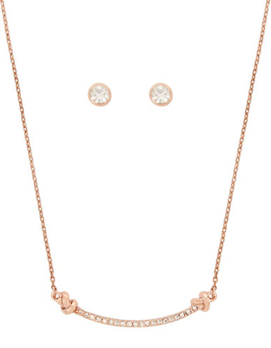 Kenneth Cole New York Crystal Necklace and Earrings Set-ROSEGOLD-One Size