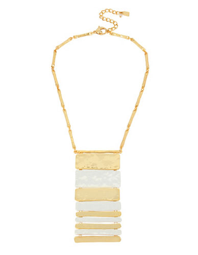 Robert Lee Morris Soho Two-Tone Bar Frontal Necklace-GOLD-One Size