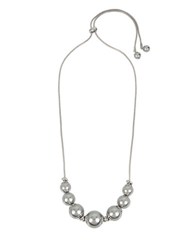 Kenneth Cole New York Faux Pearl Frontal Necklace-RHODIUM-One Size