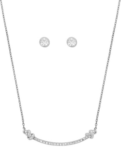 Kenneth Cole New York Crystal Necklace and Earrings Set-RHODIUM-One Size