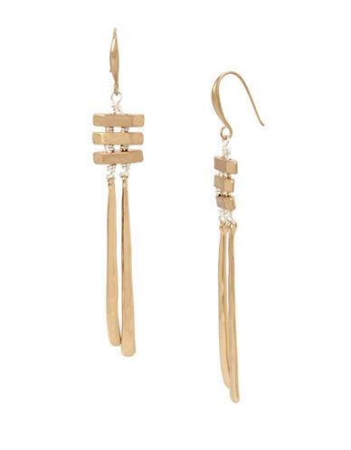 Robert Lee Morris Soho Black Crystal Two-Tone Sculptural Drop Earrings-MULTI-One Size