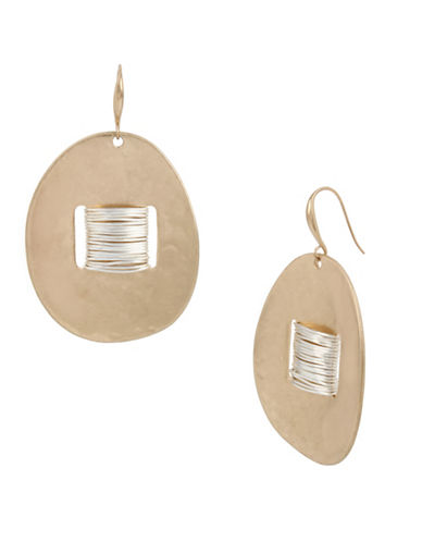 Robert Lee Morris Soho Black Crystal Two-Tone Wire-Wrapped Disc Drop Earrings-MULTI-One Size