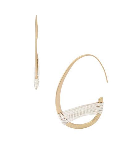 Robert Lee Morris Soho Crystal Two-Tone Wire-Wrapped Half Hoop Earrings-MULTI-One Size