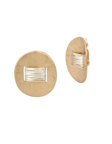 Robert Lee Morris Soho Black Crystal Two-Tone Wire-Wrapped Disc Clip-On Earrings-MULTI-One Size