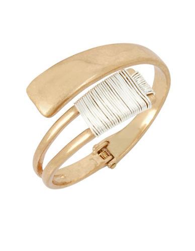 Robert Lee Morris Soho Black Crystal Two-Tone Wire-Wrapped Bangle Bracelet-MULTI-One Size