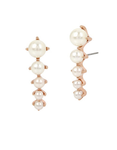Betsey Johnson Pearl Crawler Earrings-ROSE GOLD-One Size