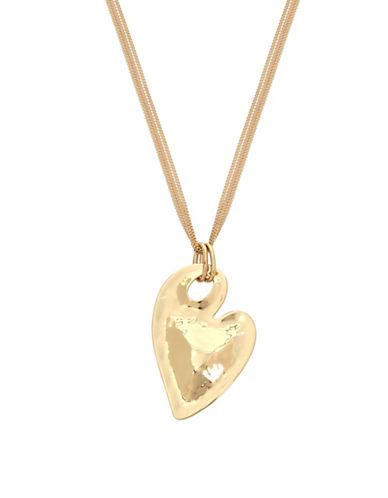 Robert Lee Morris Soho You Got Me Crystal Heart Pendant Necklace-GOLD-One Size