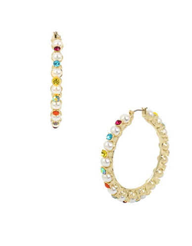 Betsey Johnson Embellished Hoop Earrings-MULTI-One Size