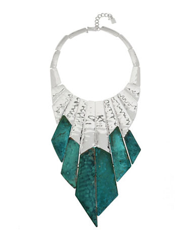 Robert Lee Morris Soho Fade Away Hammered Statement Bib Necklace-GREEN-One Size