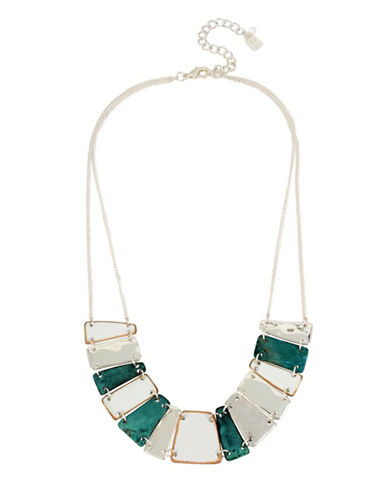 Robert Lee Morris Soho Fade Away Geometric Station Necklace-GREEN-One Size
