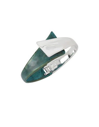 Robert Lee Morris Soho Fade Away Crystal Bypass Bangle Bracelet-GREEN-One Size