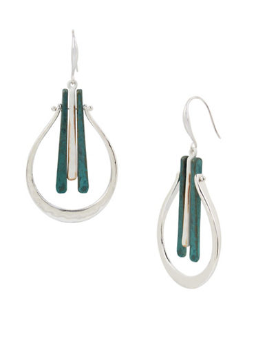 Robert Lee Morris Soho Fade Away Crystal Hammered Drop Earrings-GREEN-One Size