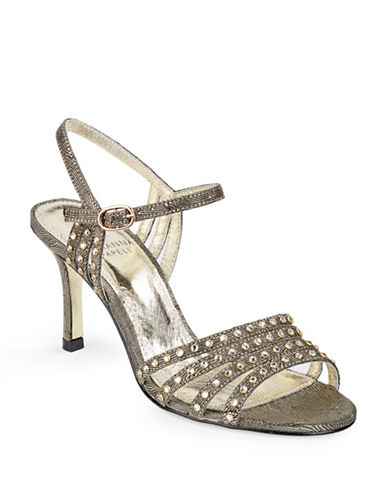 Adrianna Papell Voina Studded Metallic Sandals-GOLD-7.5