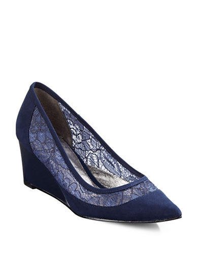 Adrianna Papell Langley Lace-Combo Wedges-NAVY SUEDE-5.5