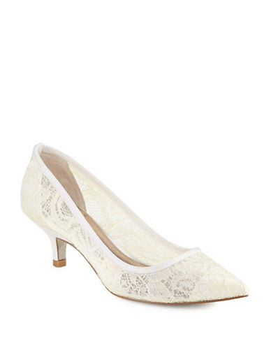 Adrianna Papell Lois Lace Kitten Heels-IVORY-8.5