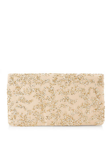 Adrianna Papell Shay Flap Clutch-GOLD-One Size