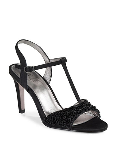 Adrianna Papell Alia Beaded T-Strap Sandals-BLACK-8.5