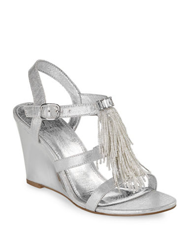 Adrianna Papell Beaded Wedge Dress Sandals-SILVER-6.5