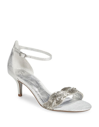 Adrianna Papell Aerin Embellished Open-Toe Sandals-SILVER-7.5