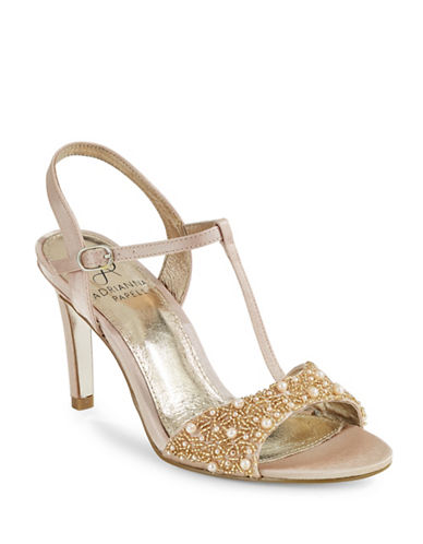 Adrianna Papell Alia Beaded T-Strap Sandals-PINK-10
