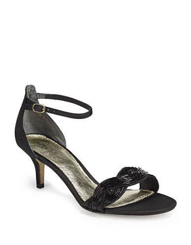 Adrianna Papell Aerin Embellished Open-Toe Sandals-BLACK-7.5