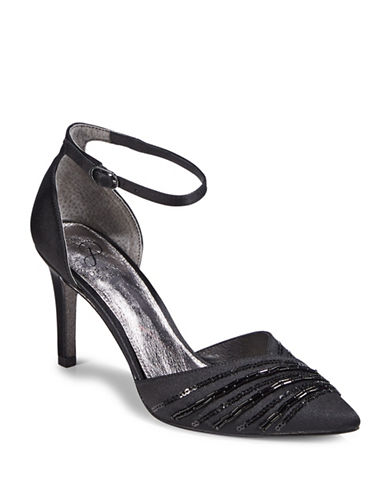 Adrianna Papell Ankle Strap Point Toe D Orsay Heels-BLACK-8.5