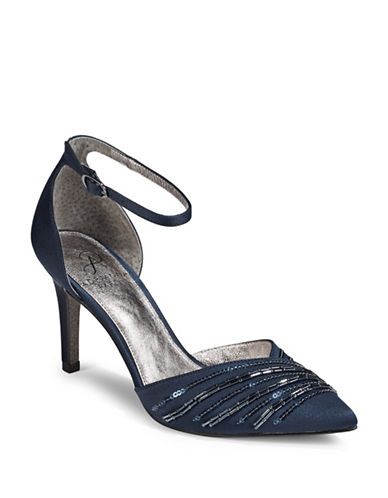 Adrianna Papell Ankle Strap Point Toe D Orsay Heels-NAVY-6.5