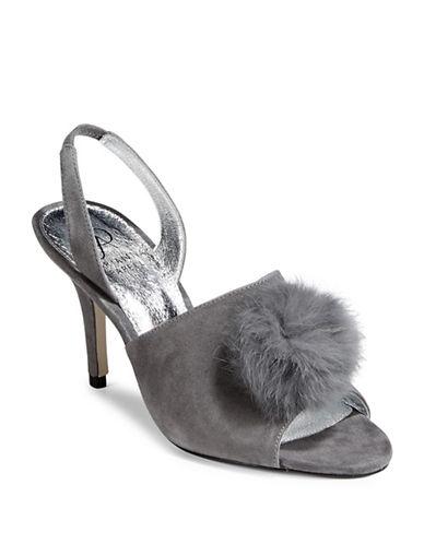 Adrianna Papell Rabbit Fur Pom-Pom Mules-COAL-9