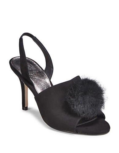 Adrianna Papell Rabbit Fur Pom-Pom Mules-BLACK-9.5