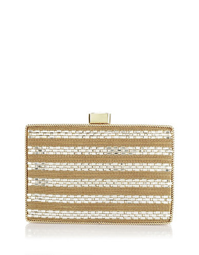 Adrianna Papell Viola Beaded Clutch-GOLD-One Size