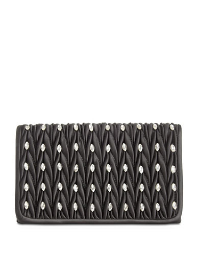 Adrianna Papell Sutton Rouched Clutch-BLACK-One Size