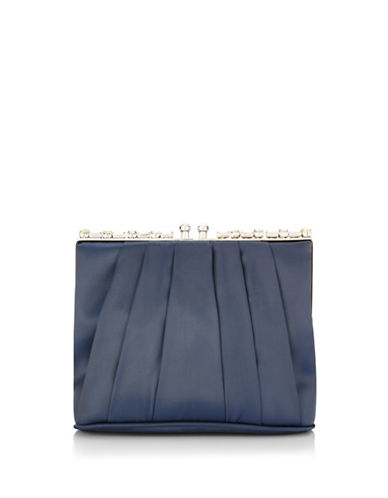 Adrianna Papell Shari Pleated Clutch-BLUE-One Size