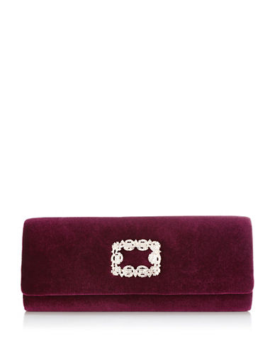 Adrianna Papell Sandra Velvet Clutch-RED-One Size