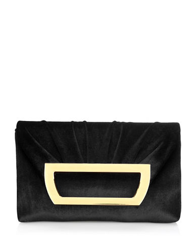 Adrianna Papell Sable Crumpled Clutch-BLACK-One Size