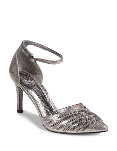 Adrianna Papell Ankle Strap Point Toe D Orsay Heels-GREY-6.5
