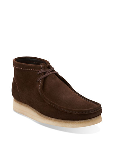 Clarks Originals Wallabee Suede Boots-DARK BROWN-9.5