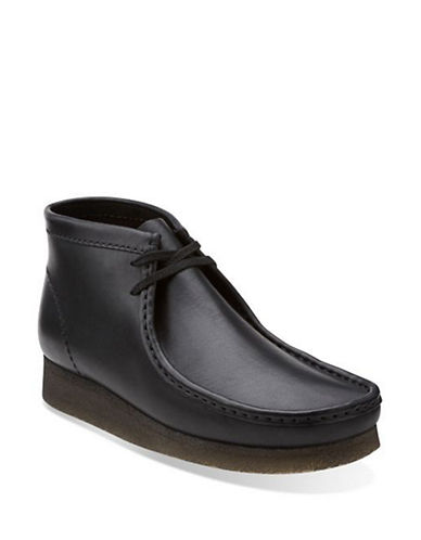 Clarks Originals Wallabee Leather Desert Boots-BLACK-7.5
