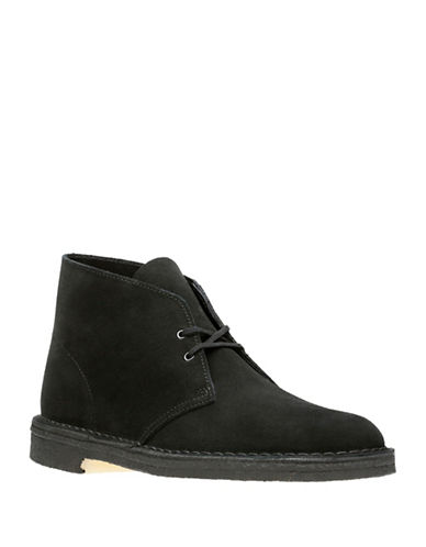 Clarks Originals Lace-Up Suede Desert Boots-BLACK-8