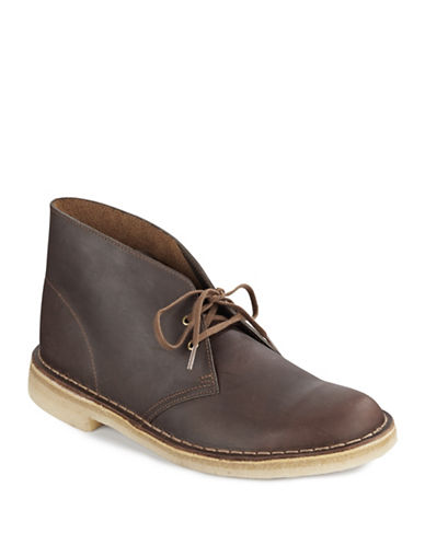 Clarks Leather Desert Boots-BEESWAX-8.5