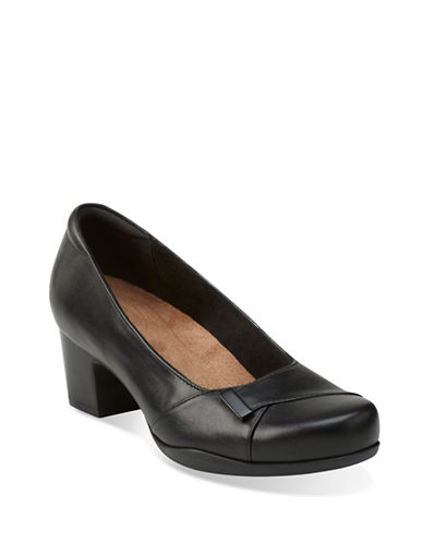 Clarks Artisan Rosalyn Belle Leather Pumps-BLACK-6W