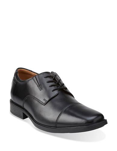Clarks Tilden Leather Cap-Toe Oxfords-BLACK-11.5W