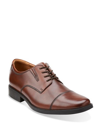 Clarks Tilden Leather Cap-Toe Oxfords-BROWN-8.5