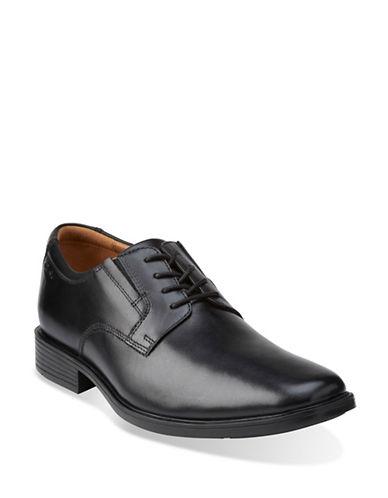 Clarks Tilden Classic Derby Dress Shoe-BLACK-8.5W
